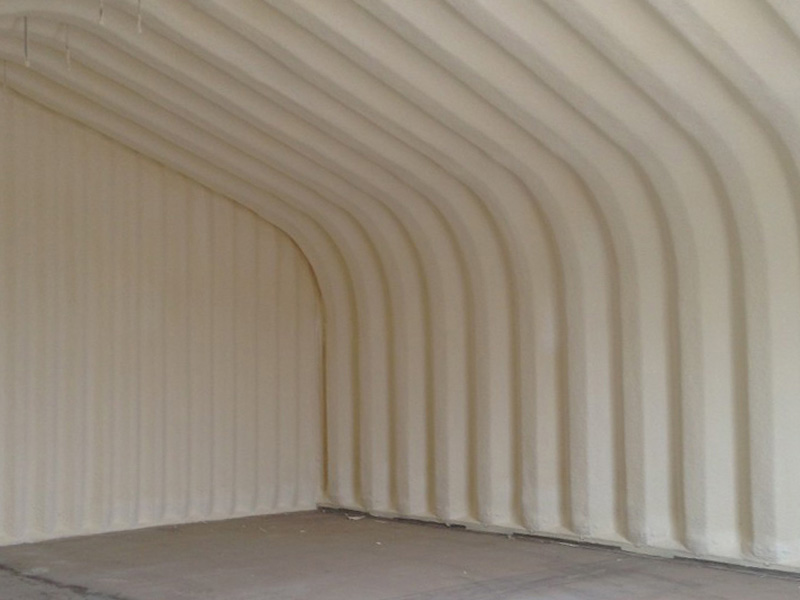 Spray foam insulation undertaken on a commerical building