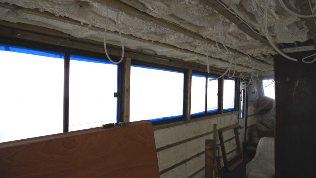sprayed foam insulation on boat