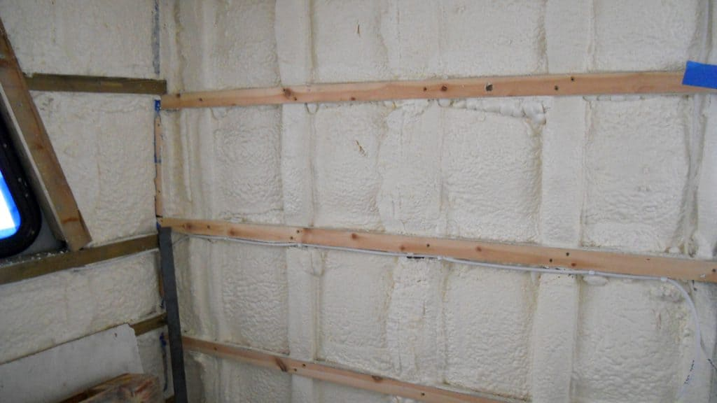 close up of sprayed foam insulation on boat