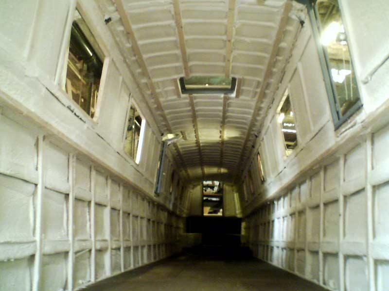 polyurethane spray foam insulation on narrowboat