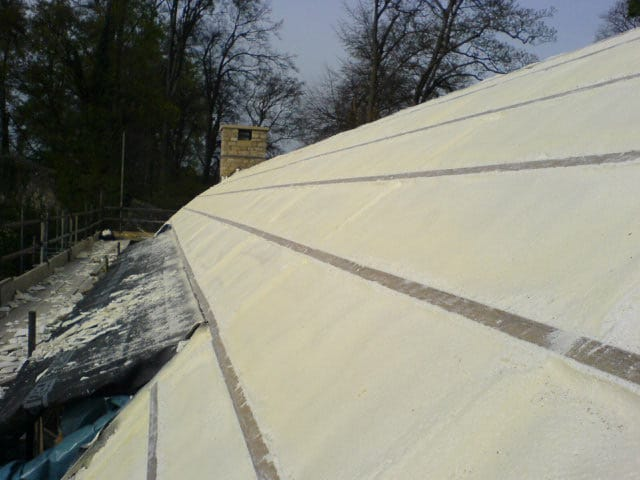 Finished insulated roof using polyurethane sprayed foam insulation