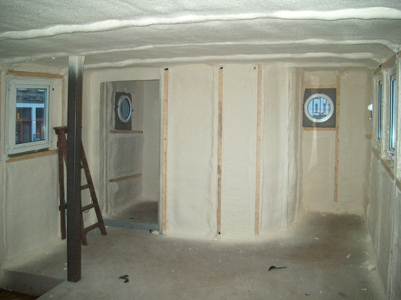 polyurethane spray foam insulation added to large boat