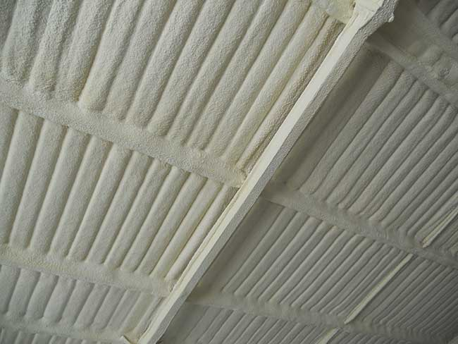 agricultural spray foam insulation after close up