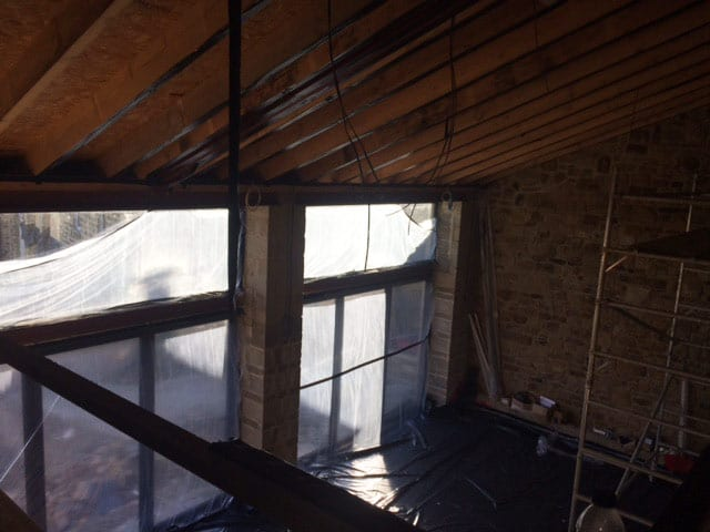 barn conversion roof insulation before