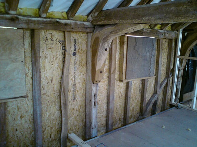 timber framed house insulation before
