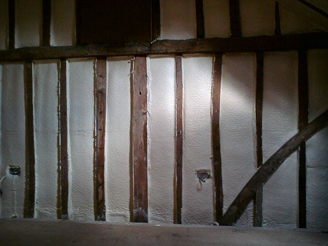 timber framed house insulation wall