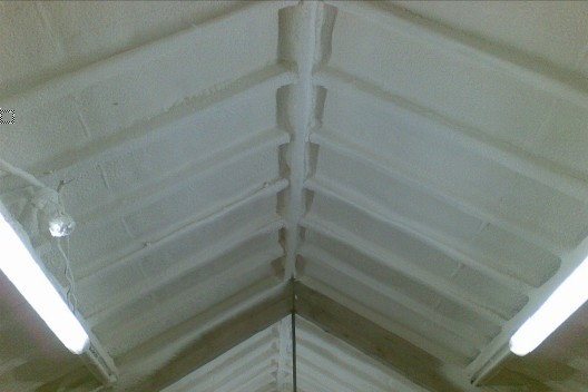 workshop roof spray foam insulation case study after close up