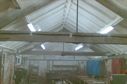 workshop roof spray foam insulation case-study after